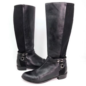 Tahari Rydell Black Leather Harness Riding Boots